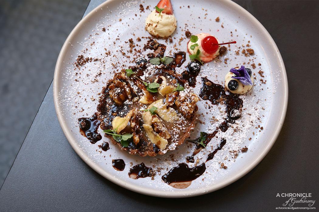 Speakeasy - Chilli and Caramel Tart w white chocolate ganache, banana crisps, caramelised walnuts, meringue and whipped cream ($12.50)