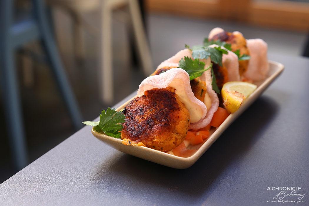 Speakeasy - panner crab & sweet potato cakes w pickled rainbow salad, lemon & coriander (4 for $12.50)