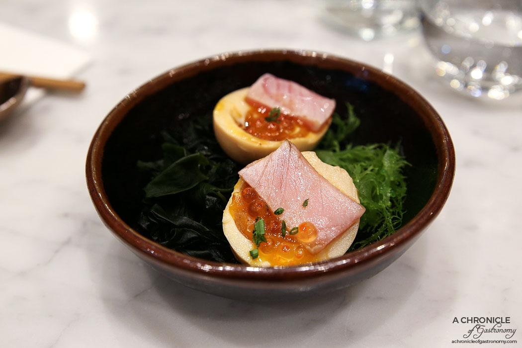 Calia - Smoked Egg - Smoked soft egg w thinly sliced toro with ikura ($10)