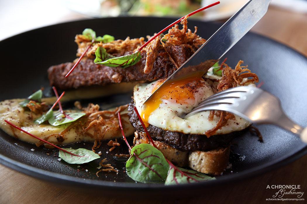 Frank's - Mushroom - Stuffed mushroom, potato rosti, enoki, parsnip puree, fried egg, multigrain, truffle oil ($19)