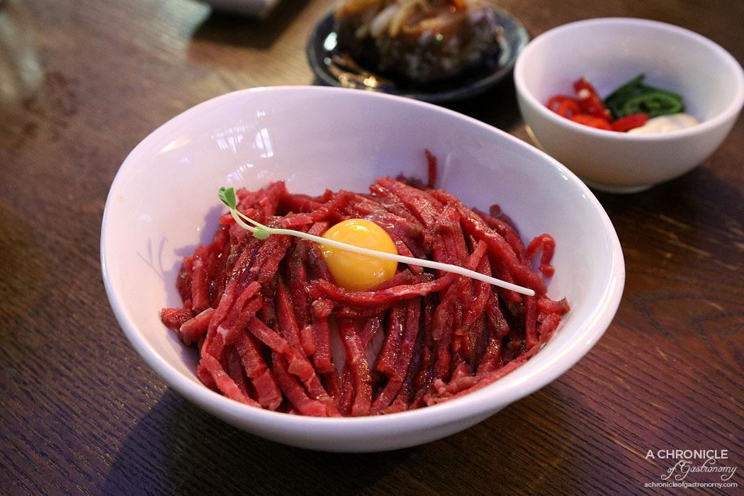 Guhng - Yukhoe - Korean beef tartare w pear, egg yolk ($24)
