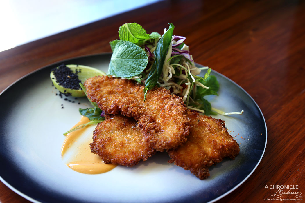 Lillie Eatery - 5 Spice Fried Chicken - Crispy basil, sriracha mayo, cucumber and cabbage slaw ($18.90)