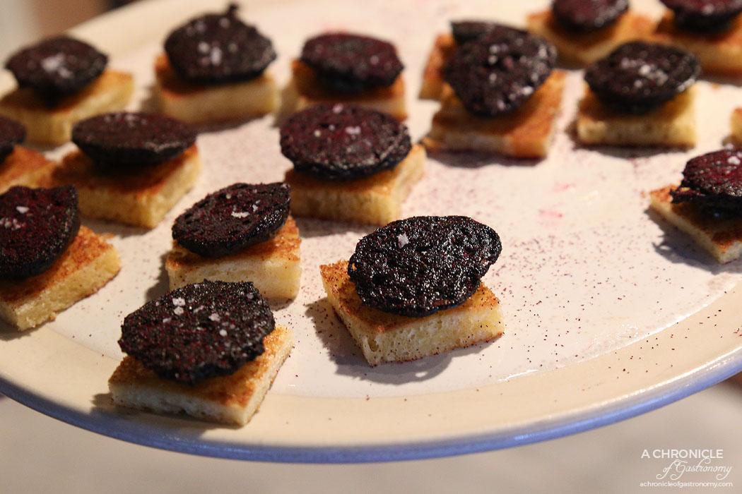Mercedes Me St Ali - Black Magic - Crispy blood cake, truffle egg and chlorophyll dressing, toast