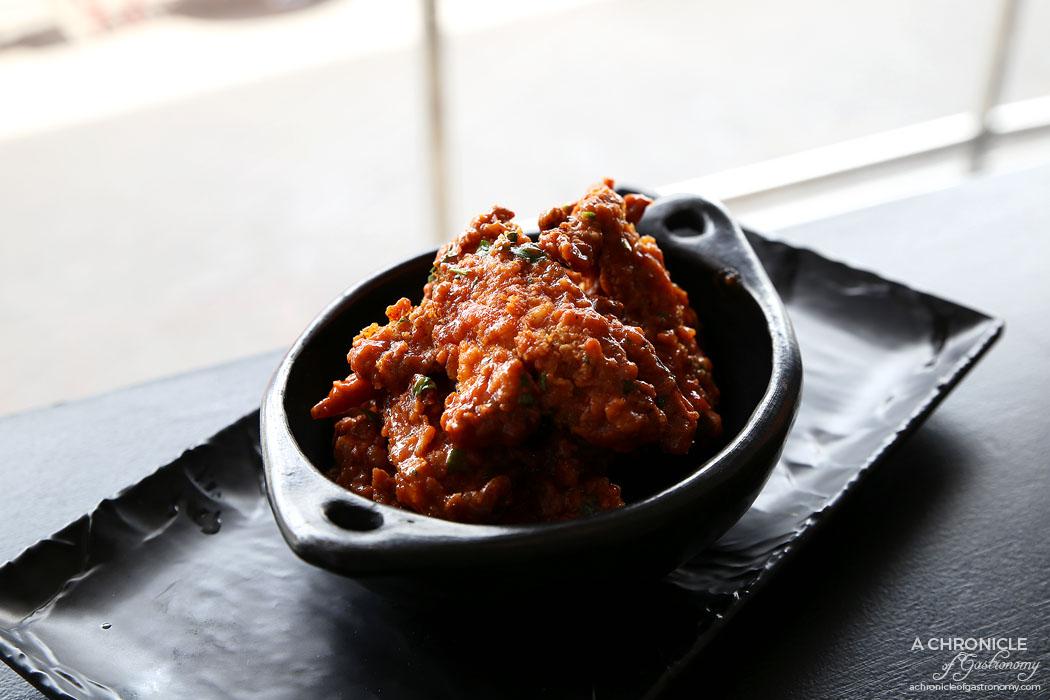 Phat Stacks - Chicken Ribs - Hot sauce glaze, fried chicken ribs ($12.50)