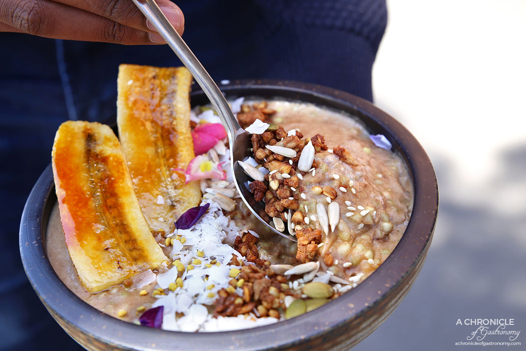 Trillium - Banana Brulee - Buckwheat, peanut butter, almond milk, coconut, maple, bee pollen ($13.50)
