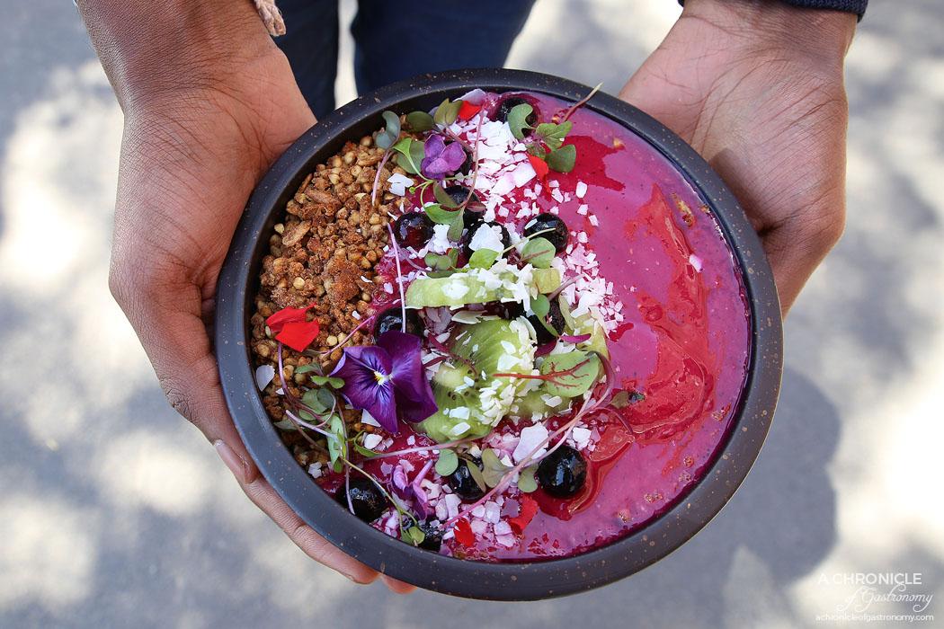 Trillium - Dragon Smoothie Bowl - Pitaya, watermelon, OJ, mango, coconut water, kiwi, raspberry, buckwheat granola ($16)