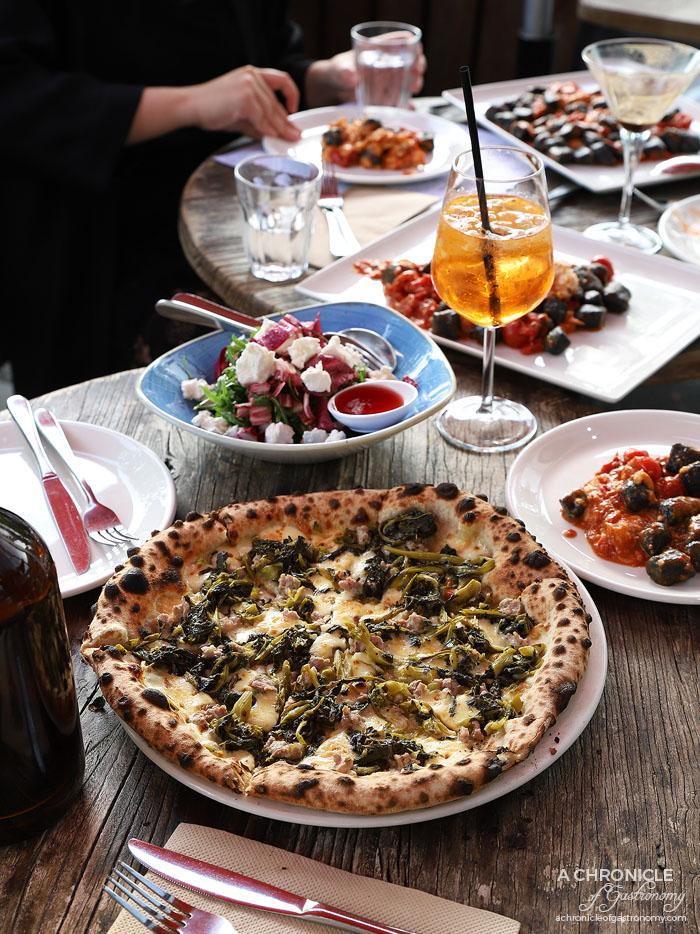 48h Pizza & Gnocchi Bar - Caserta Pizza - Smoked mozzarella, homemade sausage, rapini, chilli ($24)