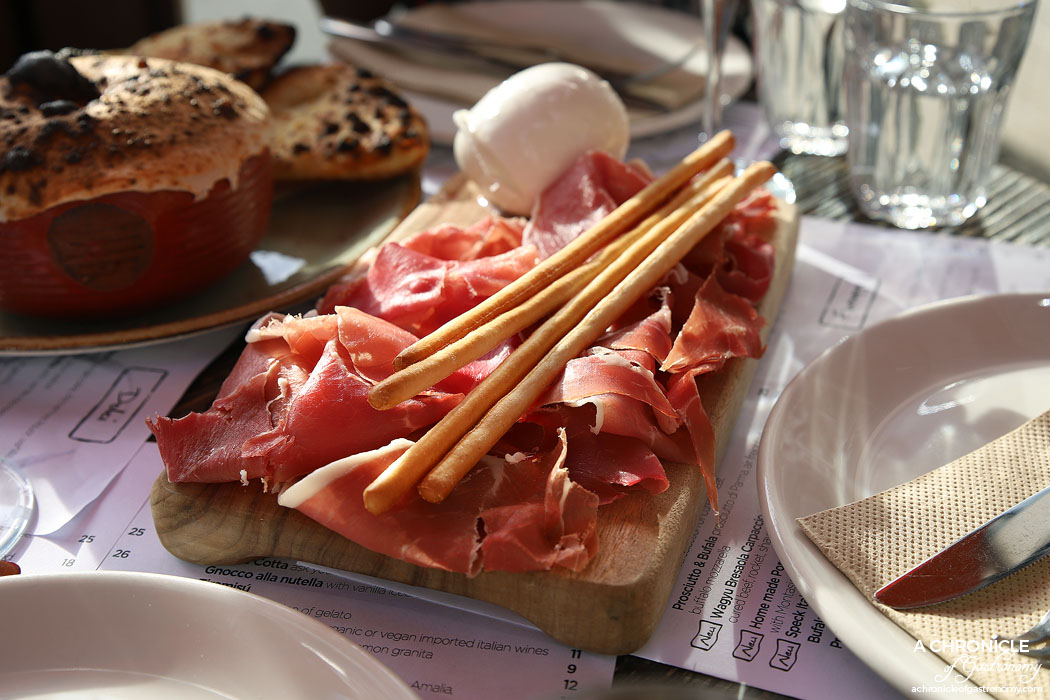 48h Pizza & Gnocchi Bar - Prosciutto & Bufala - Prosciutto di Parma, air freighted buffalo mozzarella ($22)