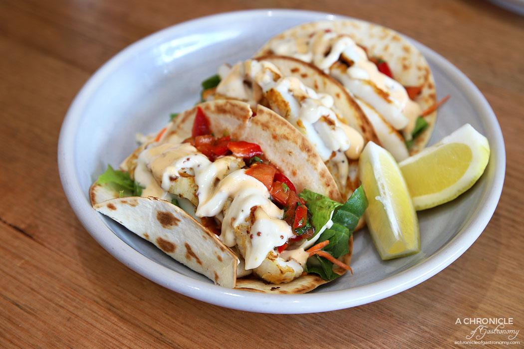 At The Catch - Calamari tacos w tomato salsa ($16)