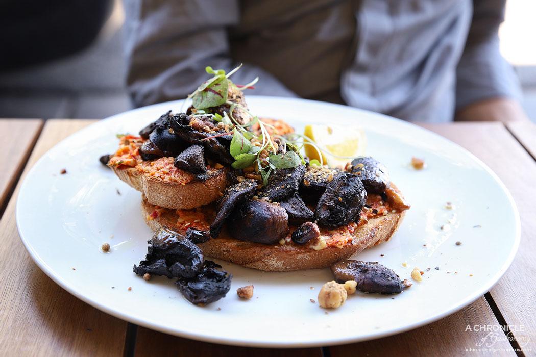 Fledgling Espresso - Slow roasted mushrooms w thyme, garlic, chilli cashew cream, dukkha crumb on sourdough ($17)