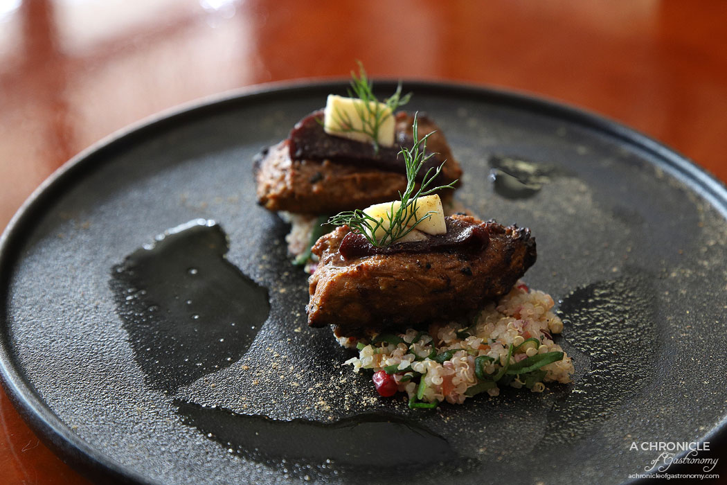 Fork and Fingers - Boti on Fire - Indian herbed lamb chunks, red wine poached pear and quinoa salad ($19)