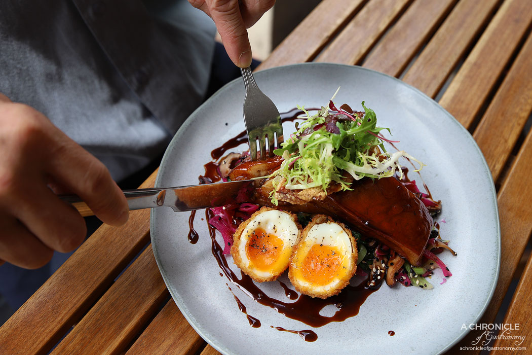 Lolo and Wren - low Cooked Pork Jowl - Sticky glazed Golden Plains pork jowl w crispy egg and salad of pickled red cabbage, bok choy, shiitake mushrooms, chilli and crackling ($21.50)