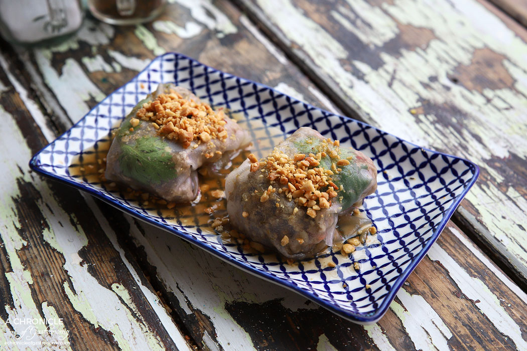 Son in Law - Minced Pork and Prawn Rice Paper - Mint, coriander, tangy tamarind sauce, crushed peanuts and sesame seaweed salad (2 for $8)