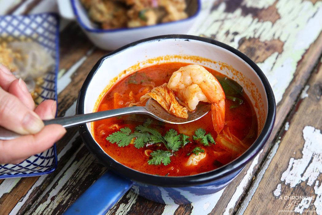 Son in Law - Tom Yum Soup - Carrot, onion, coriander, tomato, kaffir lime leaf, lemongrass, mushroom, prawns ($10)