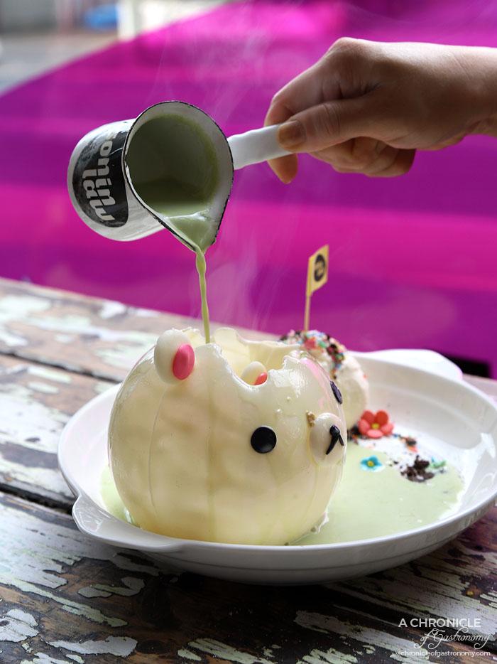 Son in Law - House-made chocolate magic ball w crepe cake, strawberry, crushed Oreo, vanilla ice cream - Coconut pandan ($16)