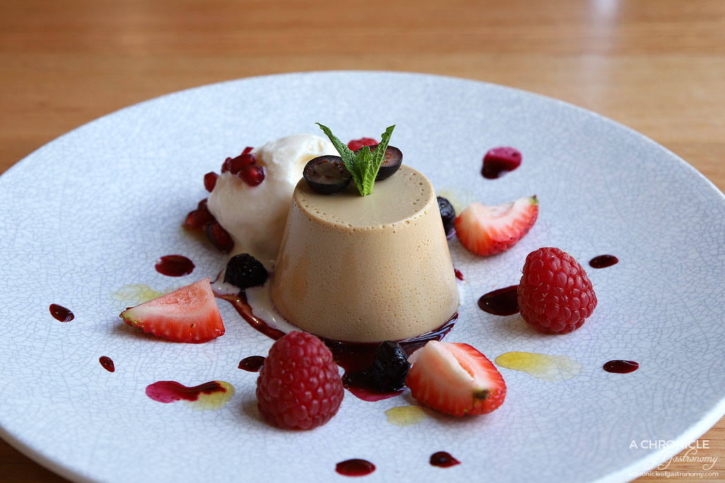 Two Fat Monks - Coffee panna cotta with vanilla ice cream and berries