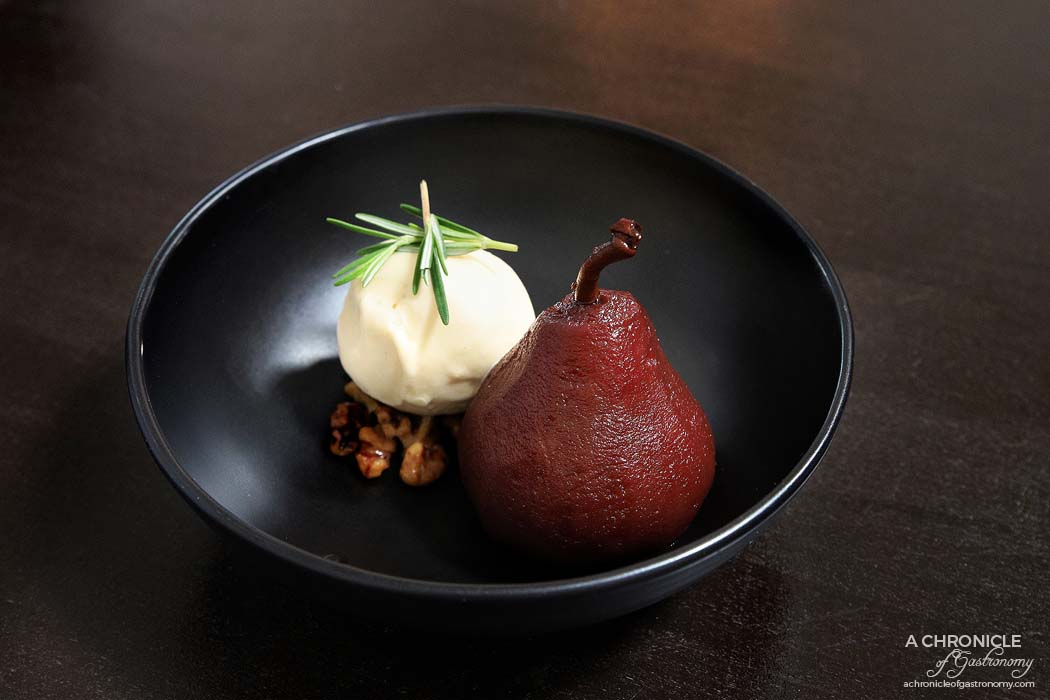 Spencer and Co - Red wine poached pear with honey and Roquefort ice cream ($16.50)