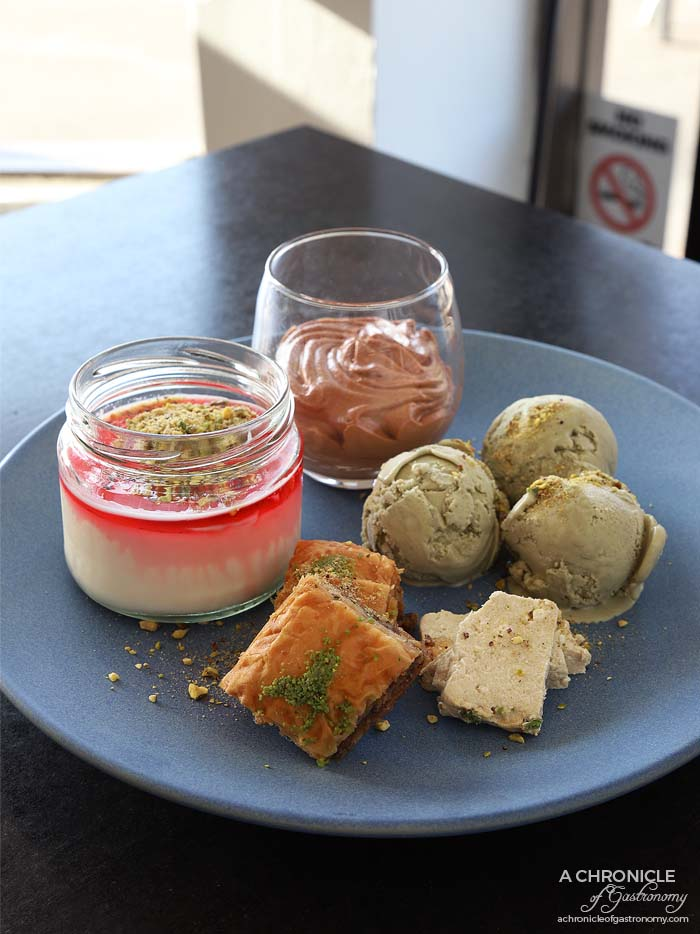 Tavlin - Chocolate and hazelnut mousse ($9,90) Israeli halva ($2 ea) Malabi - Rosewater custard served with rose syrup and pistachios ($9,90) Persian pistachio ice cream (3 scoops for $9,90) Baklava (2 for $5)