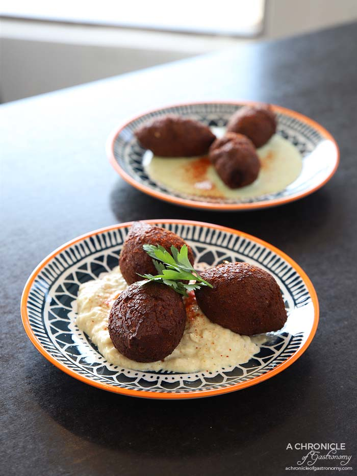 Tavlin - Lamb and pine nut kibbeh - Homemade finely ground cracked wheat and spices stuffed w prime lamb, pine nuts and onion (3 for $9) Pumpkin spinach and fetta kibbeh - Homemade spiced pumpkin and spinach w fetta (3 for $9)