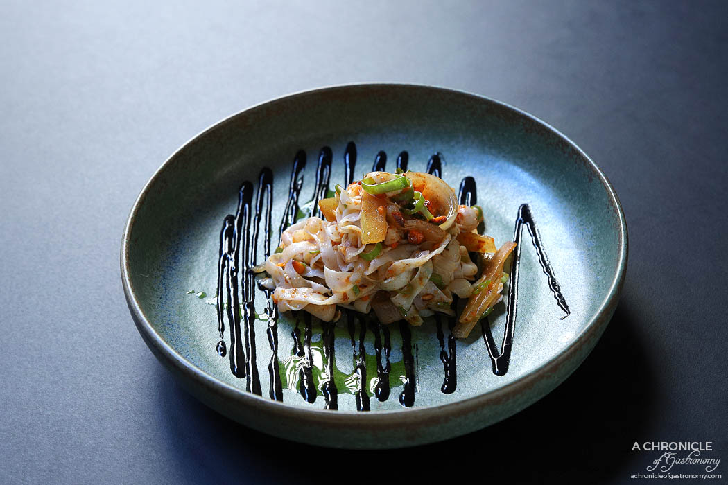 Archie Green - Warm salad of Port Phillip calamari - Preserved watermelon rind, spiced almonds ($18)