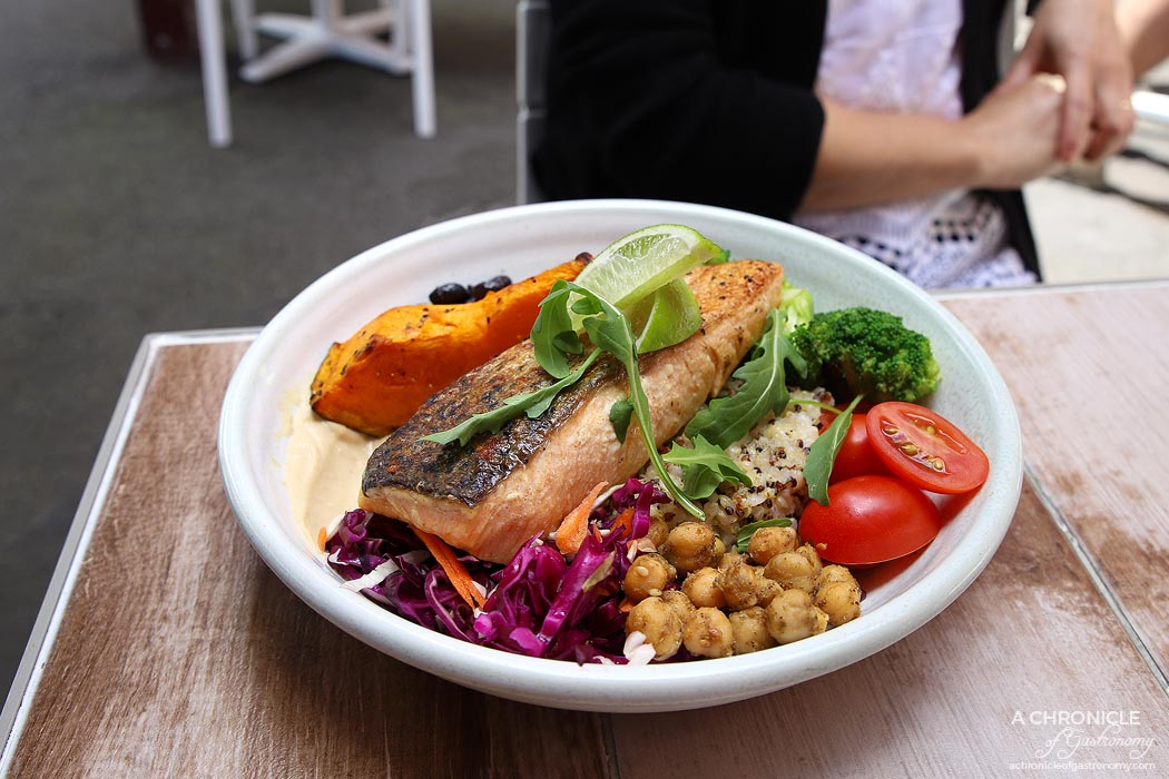Chicken or the Egg - Buddha bowl - Brown Rice, spiced chickpeas, broccoli, radish, pickled coleslaw, turtle beans, pumpkin, cherry tomato, hommus dressing + grilled Atlantic salmon ($18.90+6.90)