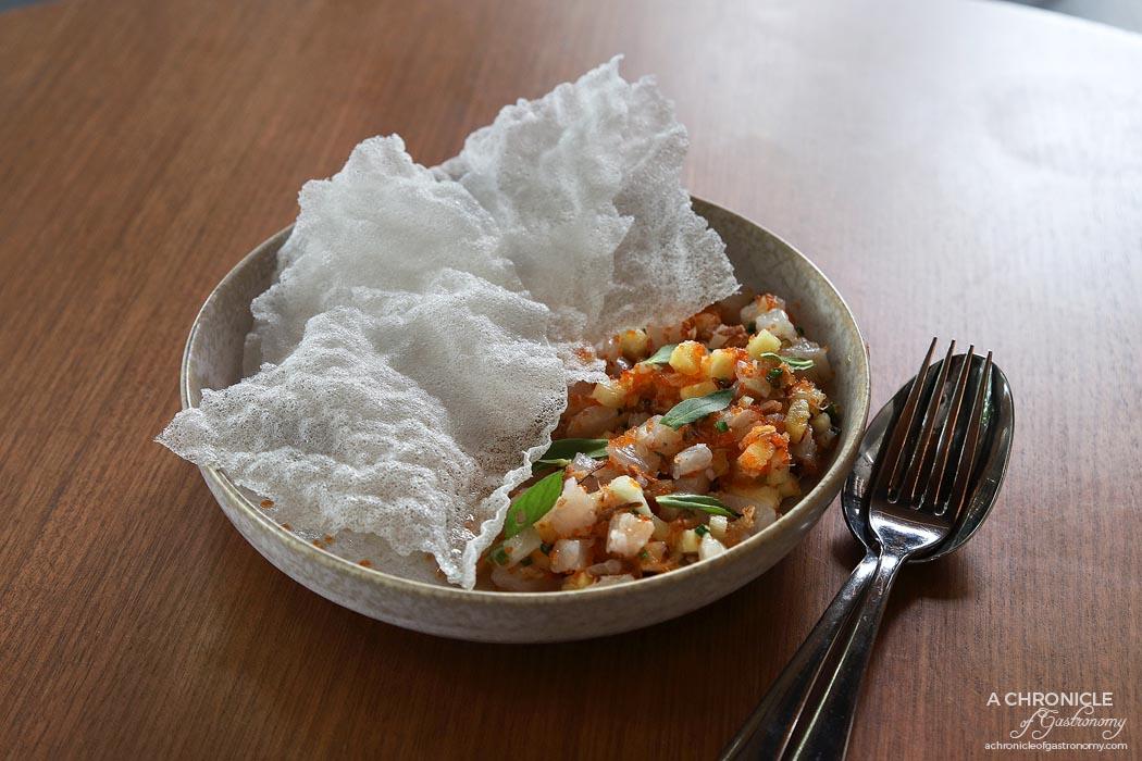 Jamu - Hiramasa King Fish Ceviche w tamarind, pineapple, rice paddy herb ($22)
