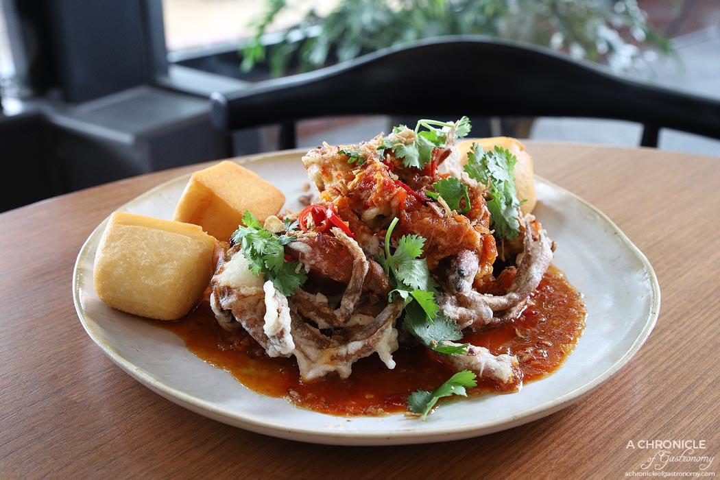 Jamu - Soft Shell Crab - Chilli sauce, roasted tomatoes, mantou buns ($36)