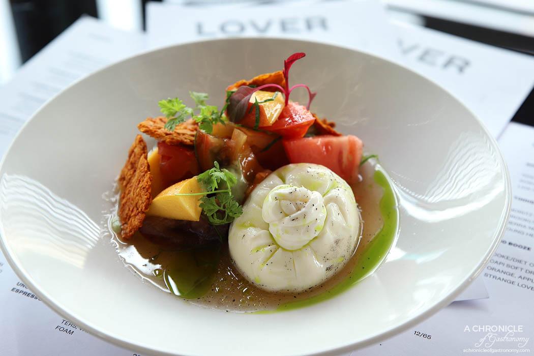 Lover - Burrata - Heirloom tomatoes, basil, almond crumb ($15)