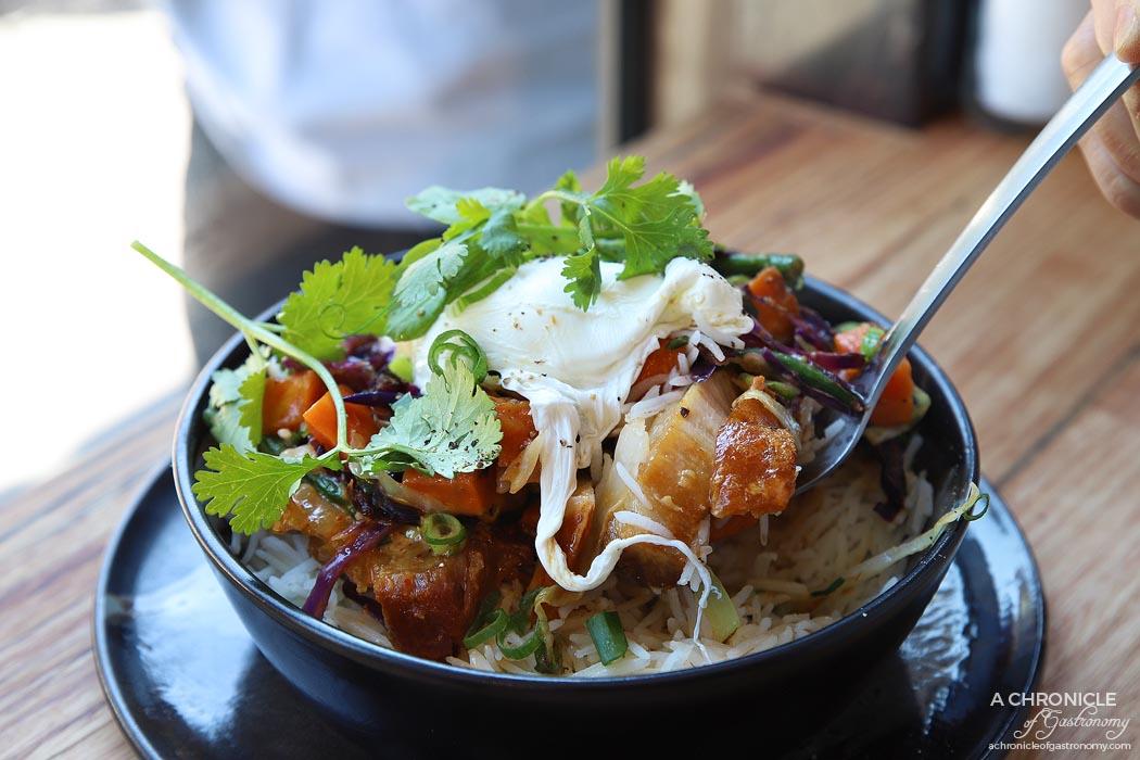 Stovetop - Crispy skinned pork belly - Dry red curry, snake beans, sweet potato, kaffir lime leaf, chilli, Thai basil, basmati, poached egg ($18,50)