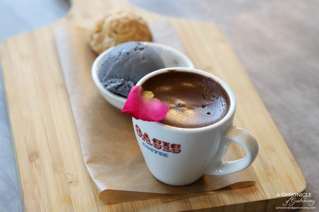 Venus and Co - Cypriot coffee and callebut dark chocolate mousse, vanilla bean ice cream, kourabiethe ($14)