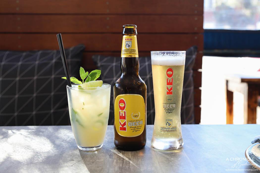 Venus and Co - Nisi Highball - Ouzo, vodka, lemon juice, mint, apple juice ($19) Keo Lager Cyprus ($9)
