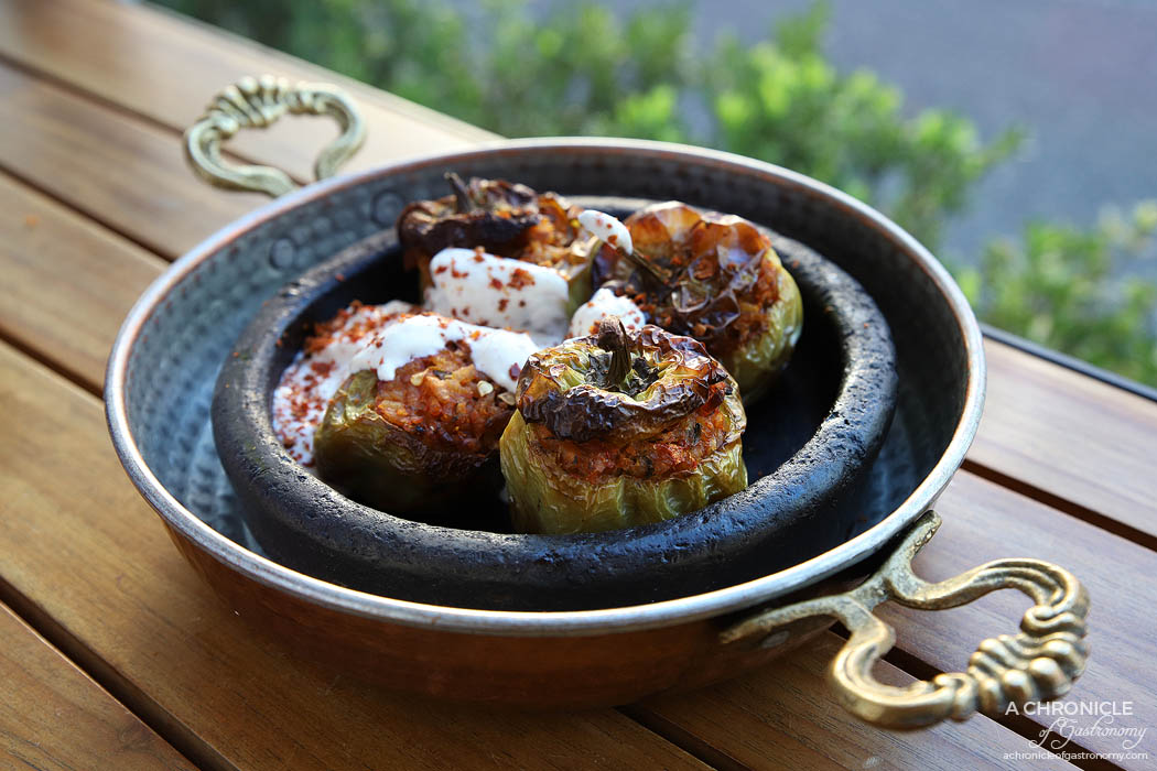Koy - Dolma - Capsicum stuffed with aromatic rice, baked and served with yoghurt topping ($12)