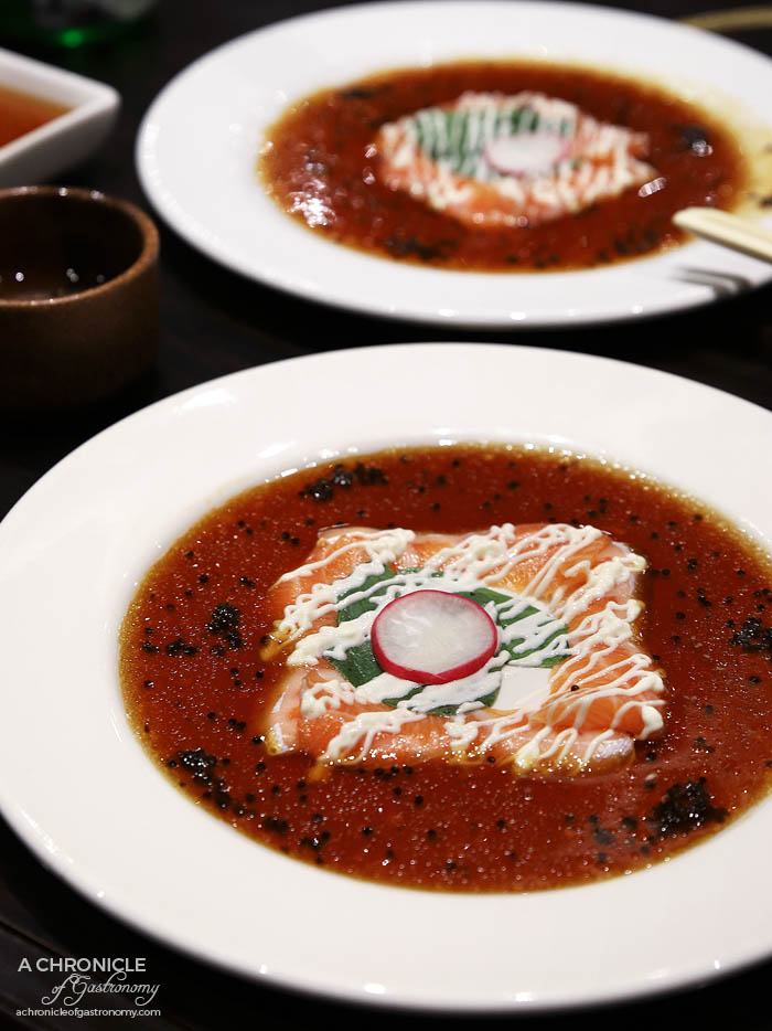 Takumi - Salmon carpaccio, wasabi infused yuzu