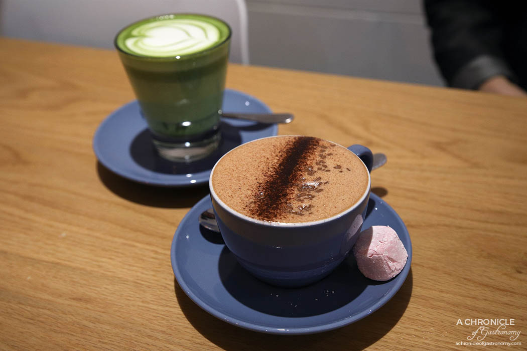 Charisma Workshop - Charisma Hot Chocolate - Callebaut 815 dark and callebaut power 41 milk ($5) Matcha Latte ($6)