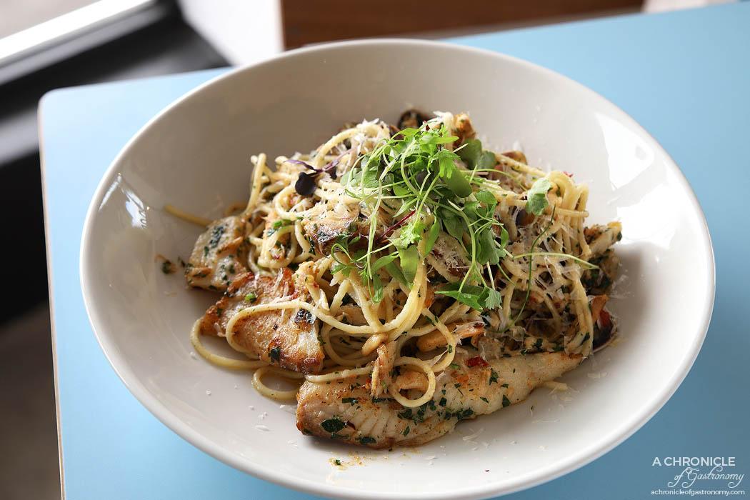 Good Times Milk Bar - Spaghettini w salted whitefish, pippies, Mooloolaba crab, green chilli, bottarga butter ($26)