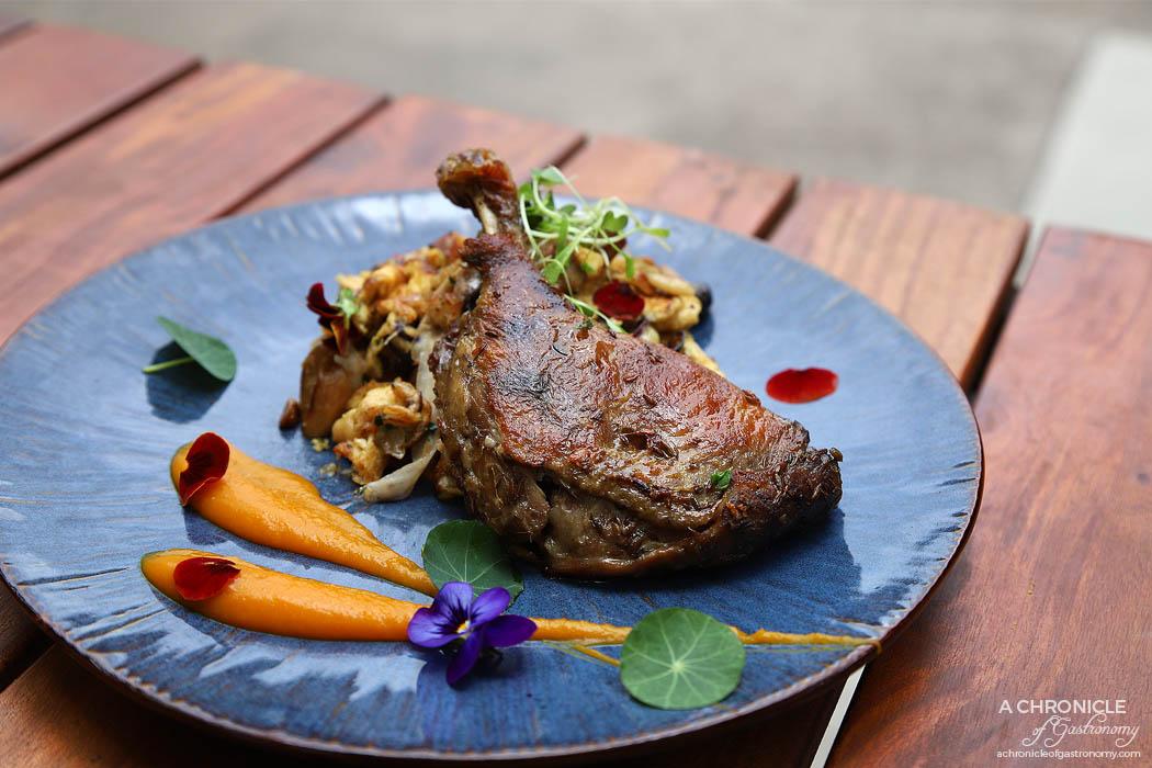 Linger Patisserie - Confit Duck Leg - Duck leg, house spaetzle, confit onion and garlic, scrambled egg, parsley, sliced carrot, pumpkin puree, mushroom ($23)