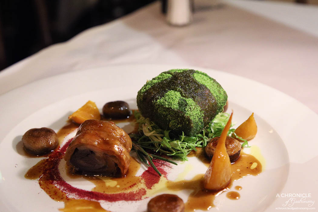 Spinetoli - Lamb loin, coated in parsley crumb, lamb porchetta, served with golden beetroot, mushrooms and a demi-glaze sauce ($31)