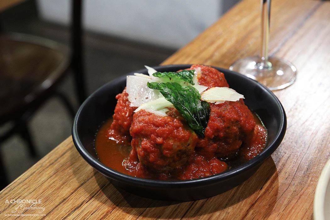 Basta - Polpette - Beef and pork meatballs and rich tomato sugo ($10)
