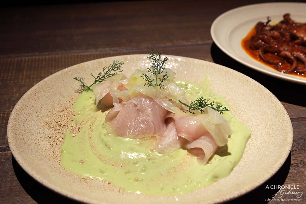 Osteria Ilaria - Kingfish crudo, oyster emulsion, fingerlime ($18)