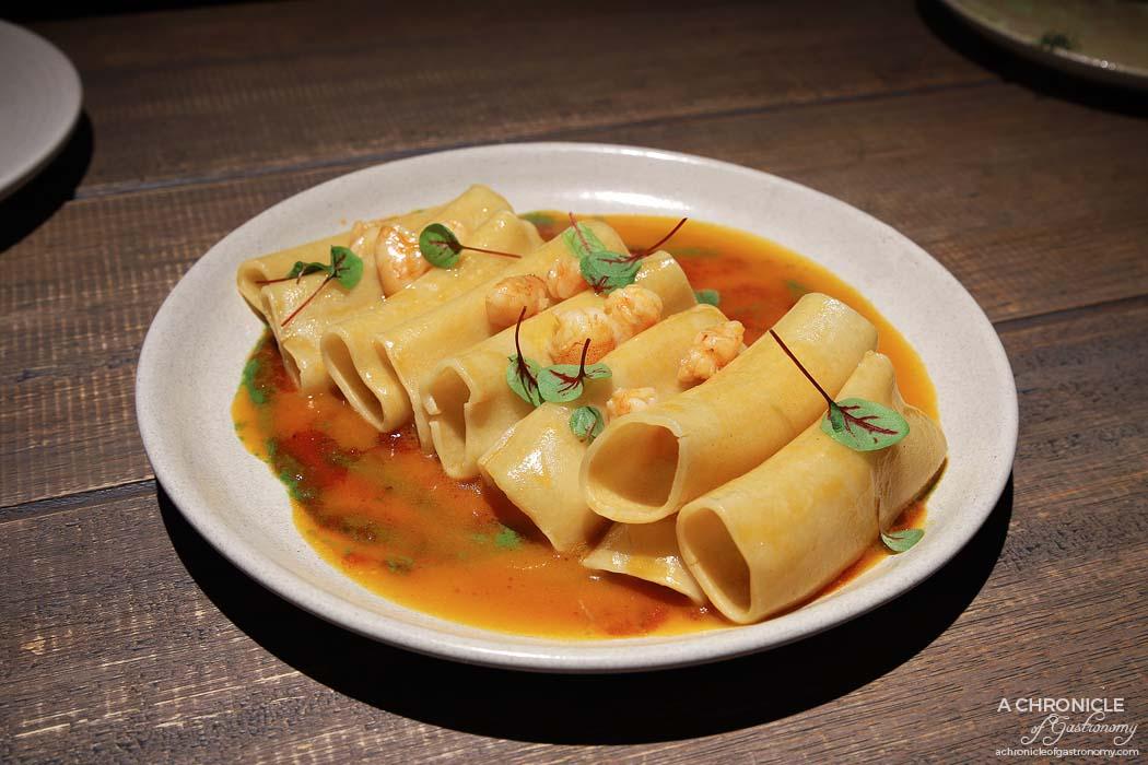 Osteria Ilaria - Paccheria pasta, Crystal Bay prawns, sorrel ($25)