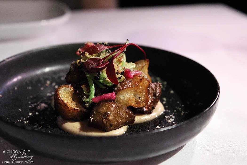 Steer Dining - Roasted Jerusalem artichoke, cauliflower textures, burnt butter, hazelnut ($20)