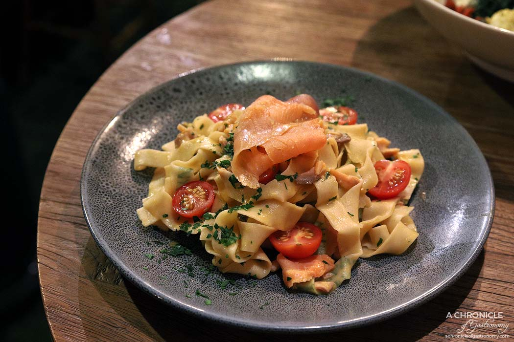 Cirelli and Co - Fresh parsley rolled pasta with smoked salmon, orange juice and cream ($25)