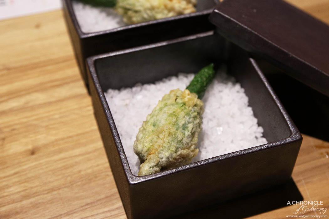 Miss Kasumi - Hotate Blossom - Zucchini flower, Scallop, Fish roe ($11 ea)