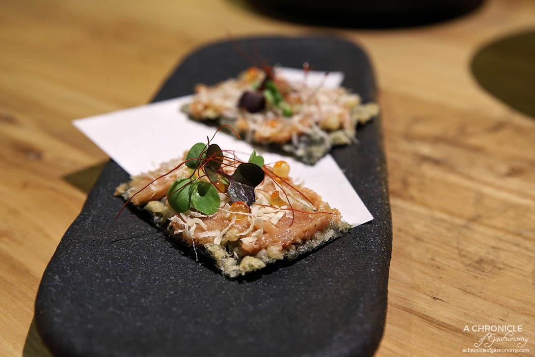 Miss Kasumi - Nori Waffle - Spicy yellow fin tuna, ikura, parmesan cheese, nori ($11)