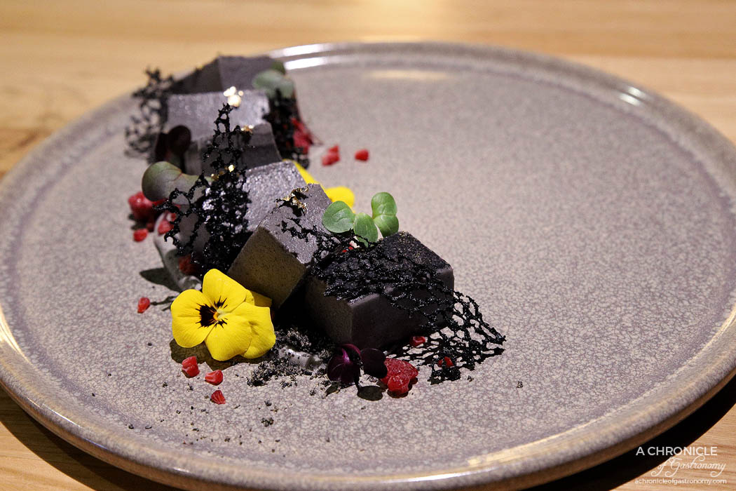 Miss Kasumi - Black Sesame Panna Cotta - Black sesame powder, black sesame tuille, raspberry ($17)
