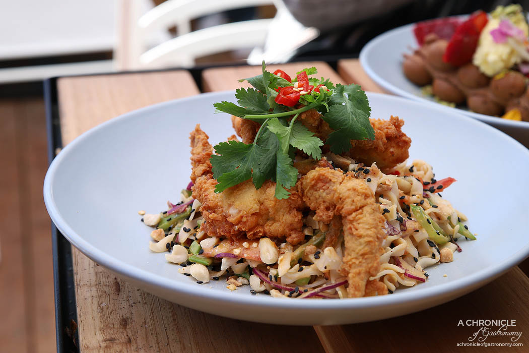 Stanley - Fried Soft Shell Crab w Thai flat noodle salad with peanuts, red capsicum, coriander, chilli, purple cabbage, snow peas, ginger and lime ($22)