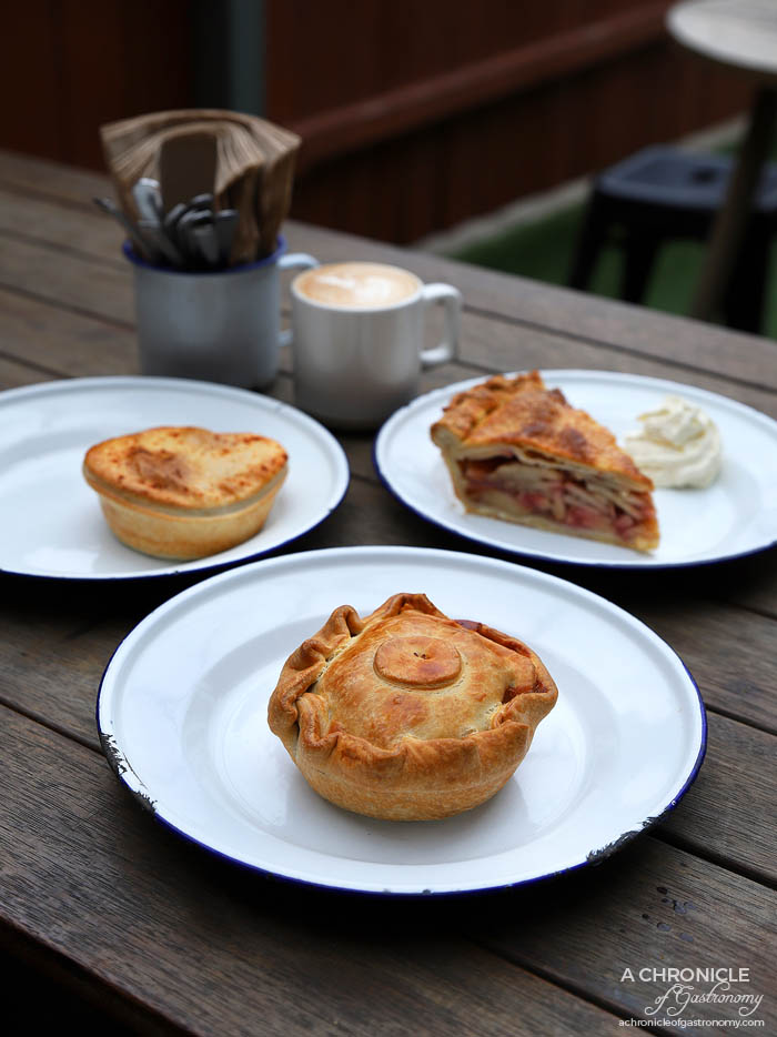 The Pie Shop - The Allen - Chunky beef and veg pie ($8) Curried turkey ($7)