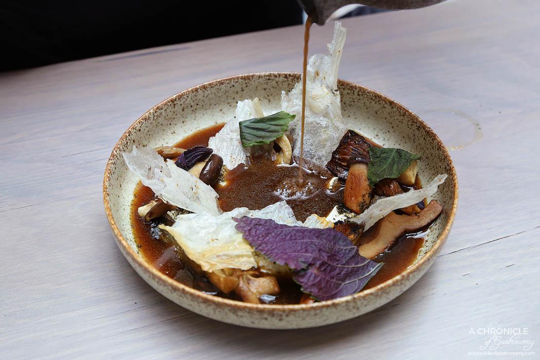 Hiatus - Mushrooms - Smoked mushroom broth, tofu, chilli, cured yolks + beef skirt ($19+6)