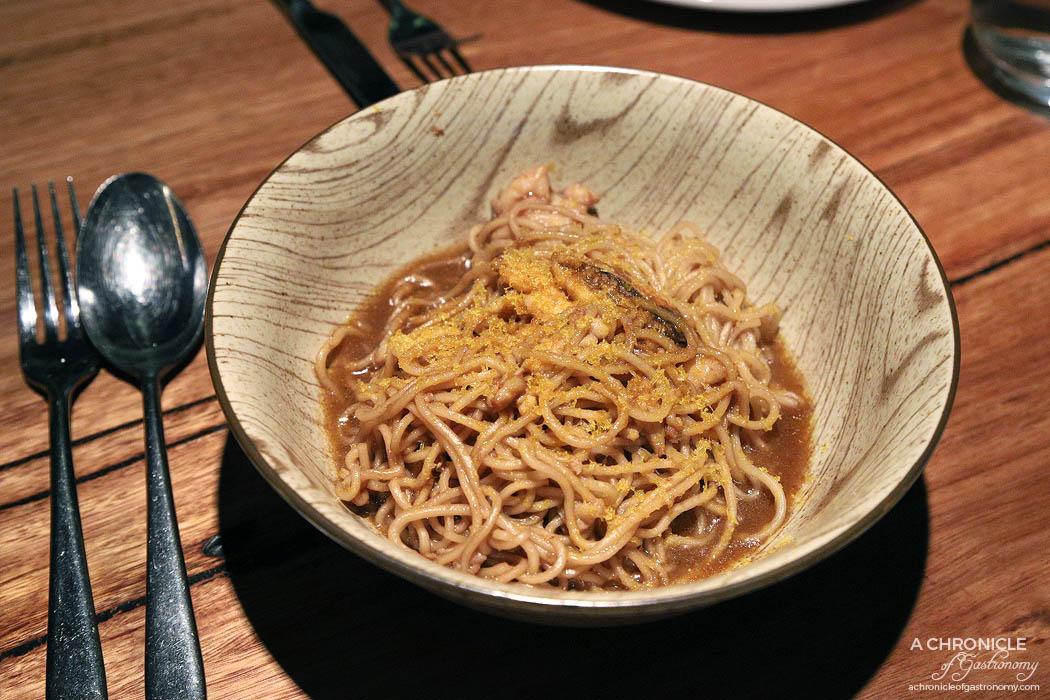 Ramblr - Crab noodles, master stock, garlic butter, bottarga ($30)