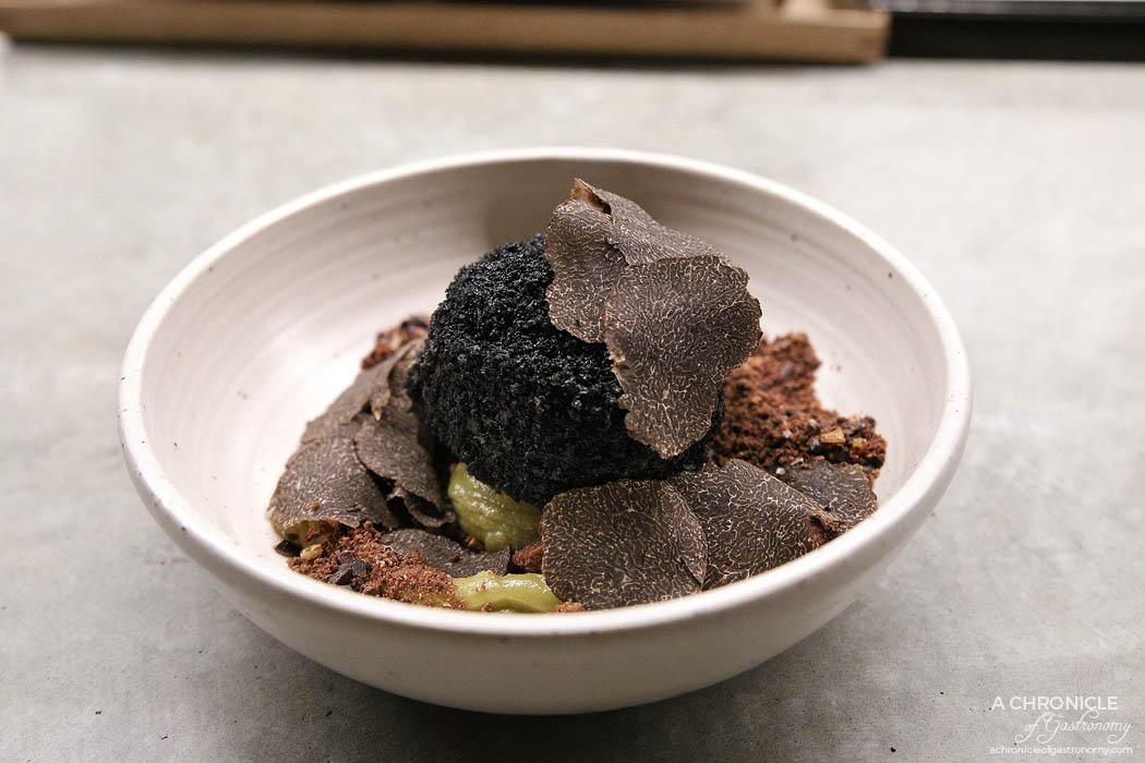 Sunda - Toasted rice and black truffle fried ice cream, kaya coconut & pandan custard, wattleseed crumb, fresh shaved truffle ($22)
